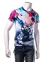 Katoen / Polyester - Print - Heren - T-shirt - Sport / Grote maten - Korte mouw