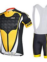 CHEJI Men Breathable Bib Shorts Sleeve Cycling Jersey Set 3D Pad Bib Shorts Set