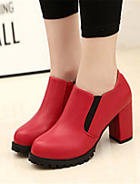 Women's Shoes Leatherette Chunky Heel Heels Heels Outdoor / Casual Black / Red