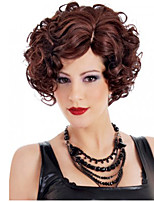 Elegant Fashion Women Synthetic Wigs Wine Red Cruly Wavy Short Medium Haircut Heat Resistance