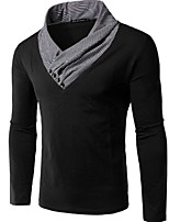 Men's Long Sleeve T-Shirt , Cotton / Polyester Casual Pure