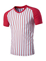 Men's Short Sleeve T-Shirt,Cotton Casual Striped