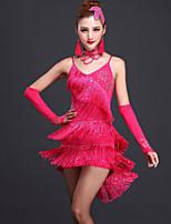 Latin Dance Dresses Women's Performance Milk Fiber Tassel(s) 2 Pieces Fuchsia / Red / Royal Blue