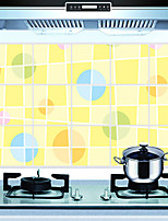 Removable Kitchen Oilproof Wall Stickers with Color Circle Style Water Resistant Home Art Decals