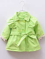Girl's Green / Pink / Yellow Trench Coat Cotton Winter / Fall