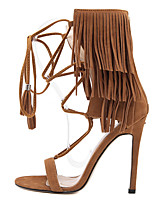 Women's Shoes Fleece Stiletto Heel Open Toe Sandals Dress Black / Brown / Almond