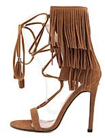 Chaussures Femme-Habillé-Noir / Marron / Amande-Talon Aiguille-Talons / Bout Ouvert-Sandales-Laine synthétique