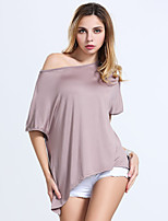 Women's Casual/Daily Simple T-shirt,Solid Asymmetrical Short Sleeve Acrylic