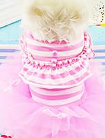 Perros Vestidos Rosado / Morado Primavera/Otoño Rayas / Perla Moda