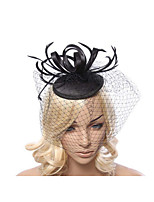 Lady's Linen Feather Fascinator Hat Headband for Wedding Party Headband