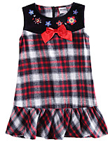 Children's Dress Sleeveless Dress Flower Embroidery Plaid Dress Girls Dresses(Random Printed)