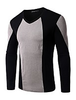 Men's Long Sleeve T-Shirt , Cotton / Polyester Casual / Sport Color Block