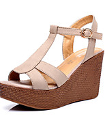 Women's Shoes Leather Wedge Heel Wedges / Heels / Slingback / Open Toe Sandals Dress Black / Gray