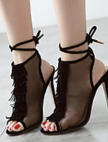 Women's Shoes Tulle Stiletto Heel Peep Toe Sandals Dress Almond