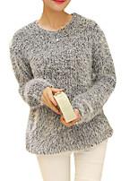 Damen Pullover - Einfach Baumwolle Undurchsichtig Langarm