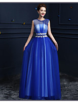 Formal Evening Dress-Royal Blue A-line Jewel Floor-length Tulle