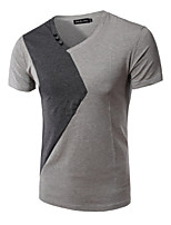 Men's Short Sleeve T-Shirt,Polyester Casual / Work / Sport Pure