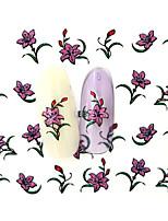 10PCS 3D Water Transfer Pink Flower Nail Art Sticker DIY Decoration  Nail Tools Nail Tips BLE858D