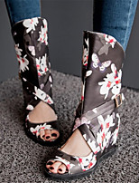 Chaussures Femme-Habillé / Décontracté-Noir / Rose / Blanc-Talon Compensé-Bout Ouvert / Nouveauté / Bottes à la Mode-Bottes-Matières