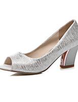 Women's Shoes Chunky Heel Heels / Peep Toe Heels Dress Blue / Silver / Gold
