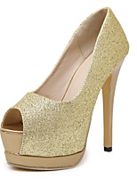 Women's Shoes Synthetic / Glitter Stiletto Heel Heels / Peep Toe / Platform Sandals Wedding / Party & Evening / Dress