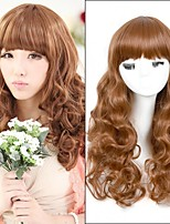 Top Quality Brown Color Long Wave Style Synthetic Wigs