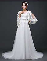 A-line Wedding Dress - Ivory Court Train Scoop Tulle