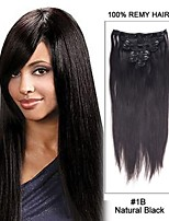 15inch 7pcs #1B Off Black Staight Clip in Remy Human Hair Extensions