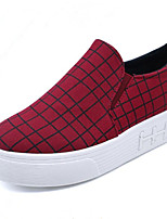 Women's Shoes Low Heel Round Toe Loafers Casual Red / White