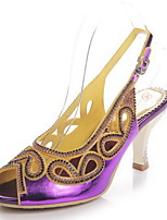 Women's Shoes Leather Stiletto Heel Heels / Peep Toe Sandals Party & Evening / Dress / Casual Black / Purple / Gold