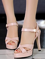 Women's Shoes Hollow Out Buckle Stiletto Heel Peep Toe / Comfort Heels Office & Career / Dress