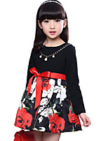 Girl's Cotton Spring / Fall Floral Splice Exquisite Chain Bowknot Long Sleeve  Dress