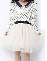 Girl's Beige Dress,Dot Cotton Summer / Spring