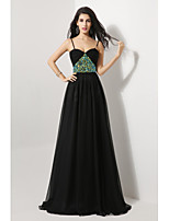 Formal Evening Dress - Black Sheath/Column Spaghetti Straps Sweep/Brush Train Chiffon