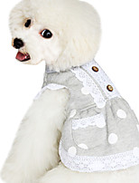 Dog Hoodie Blue Spring/Fall Polka Dots Fashion