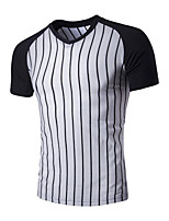 Men's Short Sleeve T-Shirt,Cotton / Polyester Casual Striped