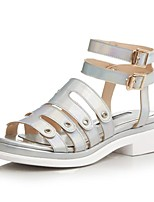 Women's Shoes Leather Flat Heel Slingback / Gladiator Sandals Outdoor / Casual White / Silver(Genuine leather)