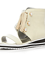 Women's Shoes Cowhide Wedge Heel Wedges / Bootie / Open Toe Sandals Casual White / Almond