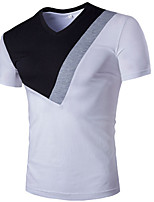 Men's Short Sleeve T-Shirt , Cotton Casual Color Block