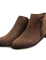 Zapatos de mujer-Tacón Bajo-Botas a la Moda-Botas-Exterior / Casual-Semicuero-Negro / Marrón / Bermellón