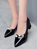 Calçados Femininos-Saltos-Bico Fino-Salto Grosso-Preto / Vermelho / Branco-Courino-Casual