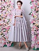 Formal Evening Dress - Silver A-line Jewel Tea-length Satin / Charmeuse