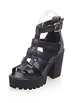 Women's Shoes Patent Leather Chunky Heel Heels / Peep Toe Sandals Outdoor / Office & Career / Dress Black / White