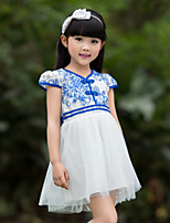 Girl's Blue Dress,Floral Polyester Summer