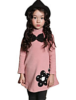 Girl's Pink / Red Dress,Floral Cotton Spring / Fall