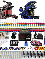 Solong Tattoo Complete Beginner Tattoo Kit 2 Pro Machine Guns 54 Inks Power Supply Needle Grips Tips TKB01