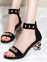 Women's Shoes Velvet Chunky Heel Heels / Open Toe Sandals Office & Career / Dress / Casual Black / Red