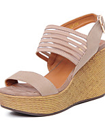 Women's Shoes Wedge Heel Wedges / Heels / Slingback / Open Toe Sandals Dress Black / Almond