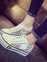 Women's Shoes Fabric Flat Heel Round Toe Fashion Sneakers Casual Black / Purple / White