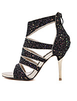 Women's Shoes Synthetic Stiletto Heel Open Toe Sandals Party & Evening / Dress Black / White